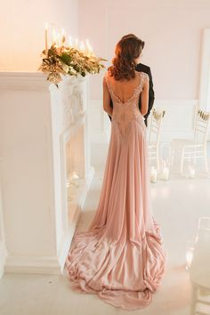 Blush pink wedding dress | Sergey Bulychev and Sergey Ulanov