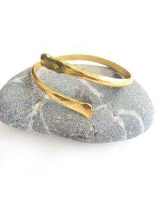 Lower Arm cuff gold wrist cuff lower arm bracelet by SPIRALICA