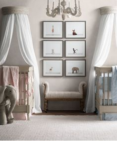 matched furnishings. complementary hues. a coordinated yet individualized look for twins.