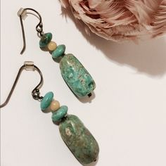 "Awesome Turquoise Earrings Tubular chunky turquoise stacked with turquoise and tan spheres forms an adorable earring. Lightweight   1 1/2"" long  Nickel free  Fashion jewelry Jewelry Earrings"