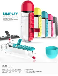 Vitamin Organizer Water Bottle! This smart water bottle is equipped with a built-in seven-compartment pill organizer, so you'll never be without water to wash down your daily medications—even when you're on the go. #Promotion
