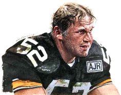 Mike Webster Pittsburgh Steelers, painting by Merv Corning.
