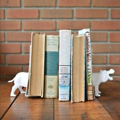 Make your own cheeky ceramic-look bookends from dollar store frames and toys!