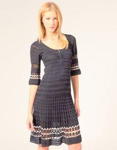 Karen Millen Black Lace & Crochet Patterned Knit Party Dress 2 10 38 New Maternity Wear, Maternity Dresses, Tee Dress, Dress Skirt, Pleated Skirt, Crochet Clothes, Crochet Dresses, Karen Millen, Formal Dresses