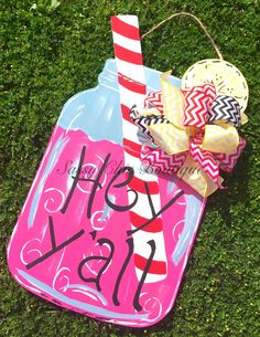 """24"""""""" Custom """"""""Hey Y'all"""""""" Wooden Lemonade Door Hanger with Straw and Matching Bow - Choice of Pink or Yellow Lemonade (Bow May Differ from Picture)"""