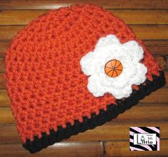 Basketball Beanie with Flower Clip by LittleMimiLulu on Etsy, $15.99