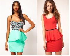 peplum dresses-- love the printed top with turquoise bottom on the left.