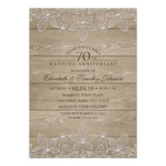 #70th Wedding Anniversary Rustic Wood Vintage Lace Card - #weddinginvitations #wedding #invitations #party #card #cards #invitation #rustic