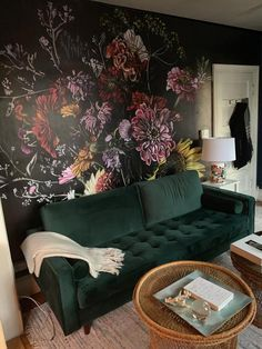 Dark floral bouquet removable wallpaper mural / botanical wallpaper temporary wall mural / dark wallpaper flower peel and stick mural - Living Room Decor, Bedroom Decor, Living Rooms, Bold Living Room, Temporary Wall, Dark Walls, Dark Wallpaper, Eclectic Wallpaper, Eclectic Decor