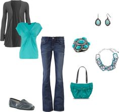"""Gray and Turquoise"" by mmessenger on Polyvore"