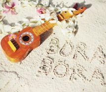 beach, bora, bora bora, guitar, trvel