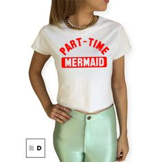 Part-Time Mermaid Croptop White Juicy Red T-Shirt S M L Xl Summer... ($13) ❤ liked on Polyvore featuring tops, t-shirts, black, women's clothing, cotton tee, white cotton tee, red top, white top and crop top