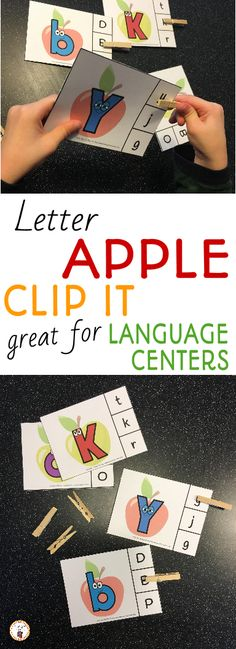 I just bought these adorable tiny clothespins!  And of course, I had to make something to go with them.  Apple themed clip it cards will be a great addition to your preschool or kindergarten language area during your apple unit or back to school unit.
