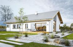 Projekt domu Wymarzony 5 123,72 m2 - koszt budowy 213 tys. zł - EXTRADOM Modern Bungalow House, Model Homes, Simple House, Home Fashion, Gazebo, Sweet Home, Exterior, Outdoor Structures, House Design