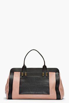 CHLOE Large Dusty Rose & Black Leather Alice Handbag