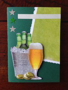 Verjaardagskaart met biertje voor mannen! Mens birthday card with beer! DIY