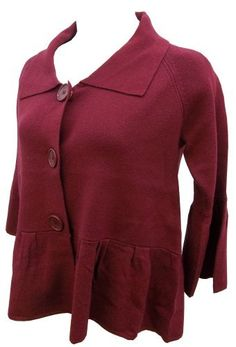 Cyrus Red Collared Cropped Button-down Cardigan, Extra Large by Cyrus. $39.95. This stylish cardigan is perfect for almost any occasion! Wear over a long tank or shirt for added warmth and a cute, tailored look!