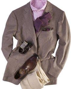 Cesare Attolini Houndstooth Sport Coat- pattern and color combination works Stylish Men, Men Casual, Gentlemen Wear, Elegant Man, Suit And Tie, Well Dressed Men, Suit Fashion, Gentleman Style, Blazer