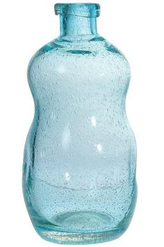 """Recycled Glass Bottle, LARGE: 13H x 12""""ROUND, BLUE by Home Decorators Collection. $29.00. Large: 13""""H x 7.25"""" diameter.. Small: 10.5""""H x 9"""" diameter.. This timeless bottle, made of recycled glass, has a unique shape which gives it character. Hold flowers inside or leave it empty. Recycled glass construction in a beautiful blue. Adds visual interest to any table or shelf. Actual size is LARGE: 13H x 12""""ROUND"""