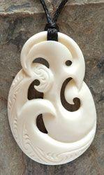 Maori Koru Bone Carving Necklace representing new life, unity and family. www.boneart.co.nz
