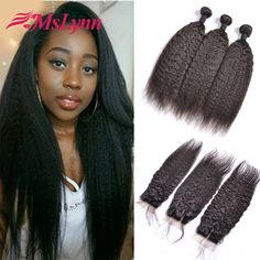 Brazilian Virgin Hair With Closure Kinky Straight Hair With Closure Human Hair Weave With Closure Cheap 3 Bundles With Closure