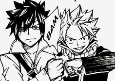 Gray, Natsu, fistbump, text, quote, manga; Fairy Tail
