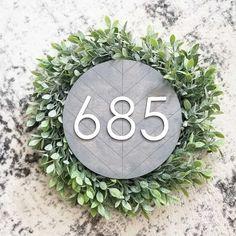 Herringbone Address Signs | Jane House On The Rock, House In The Woods, House Address Sign, Address Signs, Command Strips, Dark Stains, Herringbone Pattern, House Numbers, Back Gardens