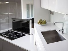 Contemporary Collection   www.dillonskitchens.ie White Gloss Kitchen, Quartz Countertops, Kitchen Styling, Modern Design, Kitchen Appliances, Contemporary, Grey, Collection, Cooking Ware