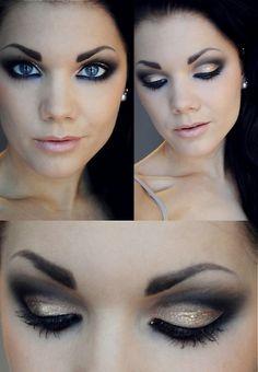 Make up com preto e dourado. Fica lindo, não é?