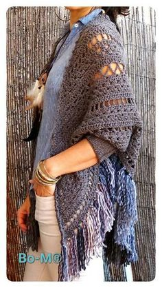 Bo-M - Shawl w/cuffs - made 2 of these.Took a few days to figure out the pattern and placing the cuffs.