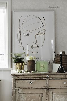 Poster - Linda Evangelista by Mats Gustafson casa Mats Gustafson, Linda Evangelista, Something Old, My Dream Home, Interior Inspiration, Shabby Chic, Watercolor, Cabinet, Poster