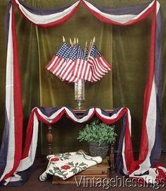 "7 1/2 yards Antique c1900 Authentic American Flag Bunting Nr x 23""w Patriotic Am"