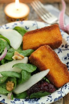 Nessa's Family Kitchen: Christmas Starter - Deep Fried Brie with a Pear & Walnut Salad and Cranberry Sauce