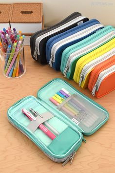 Lihit Lab Smart Fit Double Pen Cases now come in a large size with compartments for stashing pens, erasers, refills, and more.