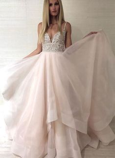 v neck tulle beaded long prom dress, evening dress Champagne v neck tulle beaded long prom dress, evening dress, Customized service and Rush order are available Open Back Prom Dresses, Pink Prom Dresses, A Line Prom Dresses, Grad Dresses, Bridal Dresses, Dress Prom, Long Dresses, Prom Gowns, Tulle Dress