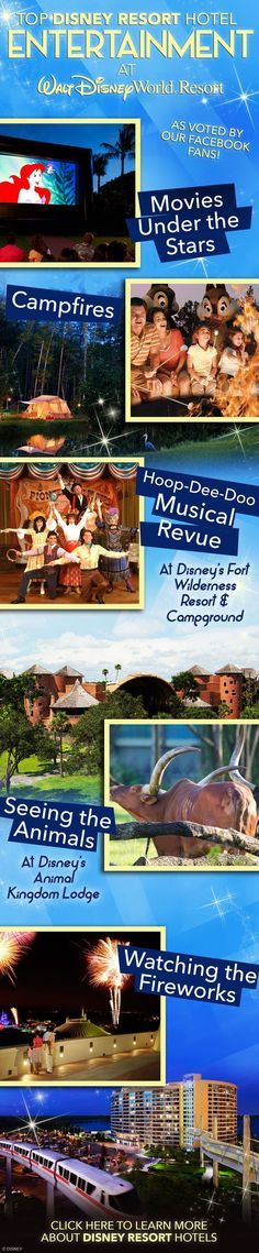 A small sampling of the entertainment that can be found at a Disney Resort Hotel at Walt Disney World! And, OLP Travel puts the Pixie Dust in Concierge Service so your next Disney vacation can be even more magical! www.olptravel.com