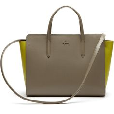 Lacoste Women's Chantaco Bicolor Leather Shopping Bag (€180) ❤ liked on Polyvore featuring bags, handbags, shoulder bags, bags bags, leather goods, timber wolf warm olive, leather handbags, olive green handbag, leather shoulder handbags and shopping bag