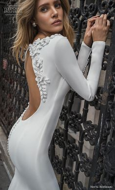 netta benshabu fall 2019 bridal long sleeves bateau neckline simple minimalist clean elegant fit and flare wedding dress low backless open back chapel train zbv — Netta Ben Shabu Fall 2019 Wedding Dresses Simple Wedding Gowns, Western Wedding Dresses, Fit And Flare Wedding Dress, Formal Dresses For Weddings, Gorgeous Wedding Dress, Long Sleeve Wedding, Classic Wedding Dress, Dream Wedding Dresses, Designer Wedding Dresses