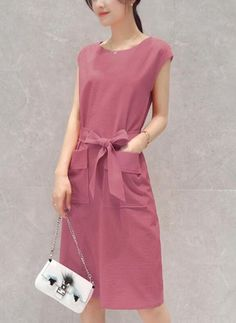 Solid Pockets Wrap Knee-Length Shift Dress