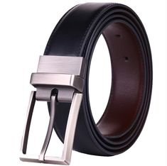 PBJ Men/'S Genuine Leather Belt Reversible For Jeans Male Rotated Buckle Dress Be