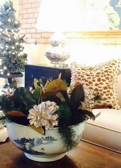 Blue and White bowl with holiday greenery