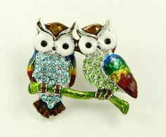 Two Owls Brooch Crystal Blue Green.