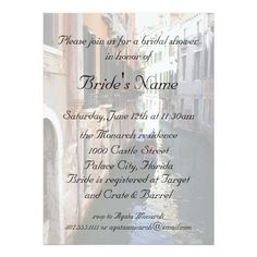 bridal shower for venetian theme wedding invitation