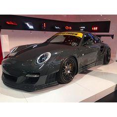 Liberty Walk Porsche at the spyder booth.  #libertywalk #porsche #toyotires #spyder #sema #sema2015 #semashow #clean #rallispec #vegas