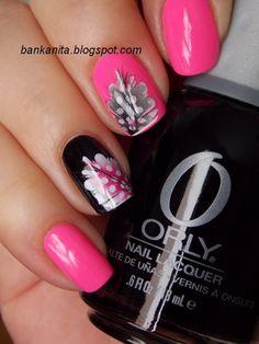 Pink/black nail art by bankanita.blogspot.com