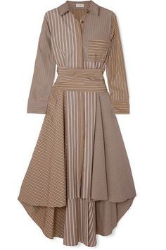 Brunello Cucinelli - Asymmetric Striped Cotton-poplin Dress - Camel Source by netaporter for teens Hijab Fashion, Fashion Dresses, Hijab Stile, Poplin Dress, Asymmetrical Skirt, Brunello Cucinelli, Mode Style, Ideias Fashion, Summer Outfits