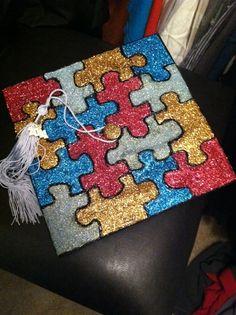 Autism Awareness graduation cap.