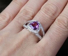 Trillion Amethyst Engagement Ring Pave Diamond Wedding 14k White Gold 8mm - Lord of Gem Rings - 1