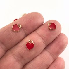 Anchilly Red and Gold Earrings Small Short