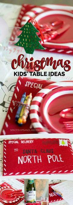 Christmas Kids' Table Ideas via /spaceshipslb/ #BringTheSparkle #ad, Pin Today!
